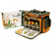 Набор для пикника CW Beer Master в подарочной упаковке (на 4 персоны, цвет серый с оранжевым, пивной набор с посудой + изотермическое отделение, вес 4кг)