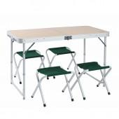 Стол походный Camping World Convert Table (чехол, размер 80х60 см., высота 65 см, вес - 6,5 кг., 4 стула в комплекте)